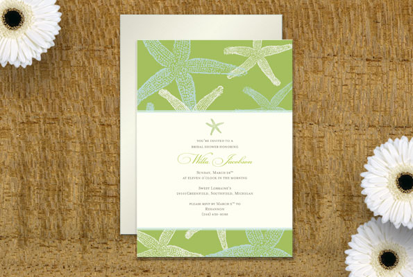 Starfish Print Shower Invitation